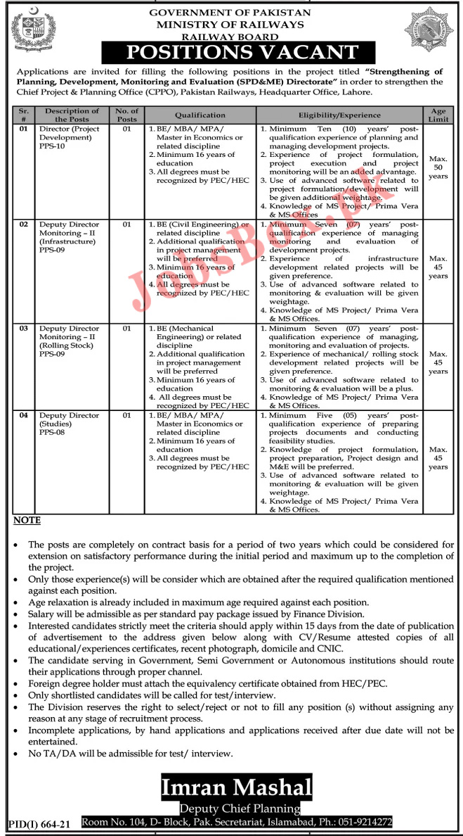Ministry of Railways Jobs 2021 – PR Railway Board Jobs