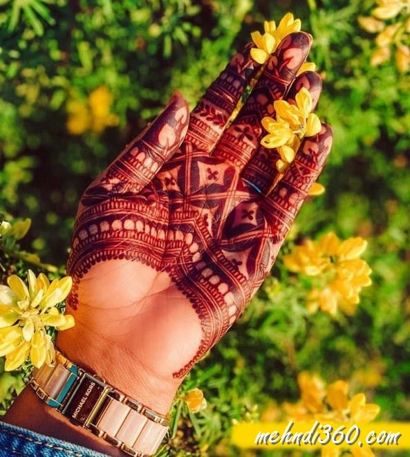 Indian Mehndi Design Front Hand