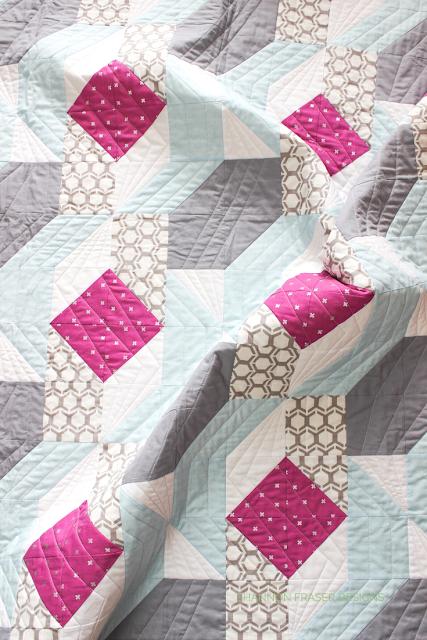 Rocksteady quilt featuring 28wt Aurifil Thread | Fave Thread Weight | Shannon Fraser Designs #halfsquaretriangles #modernquilt #suzyquiltspattern