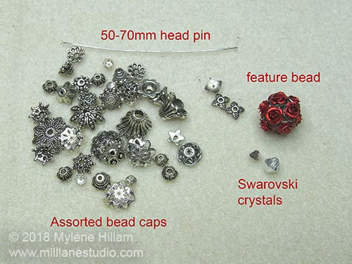 Beads and findings required for the Rose Bottle Pendant