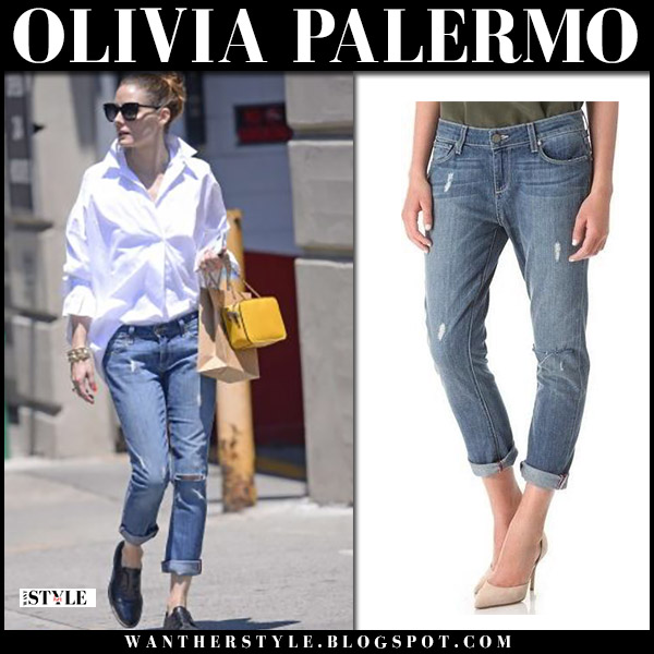Olivia Palermo in white shirt, ripped paige jeans and black shoes givenchy street fashion july 10
