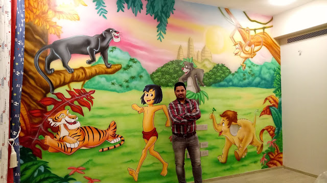 The Jungle Book Themed Wall Mural for Kids Room Mumbai