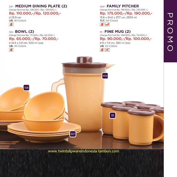 Promo Diskon Tulipware April 2017, Medium Dining Plate, Bowl, Family Pitcher, Fine Mug