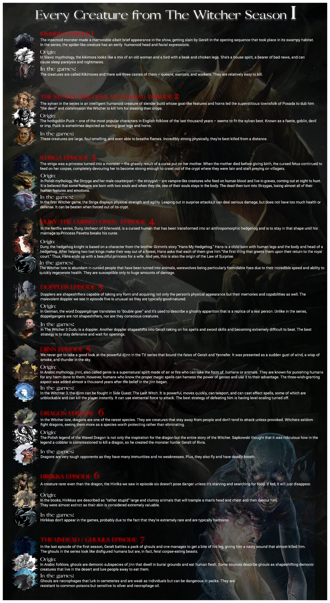 Every Creature in The Witcher from Season 1, an infographic