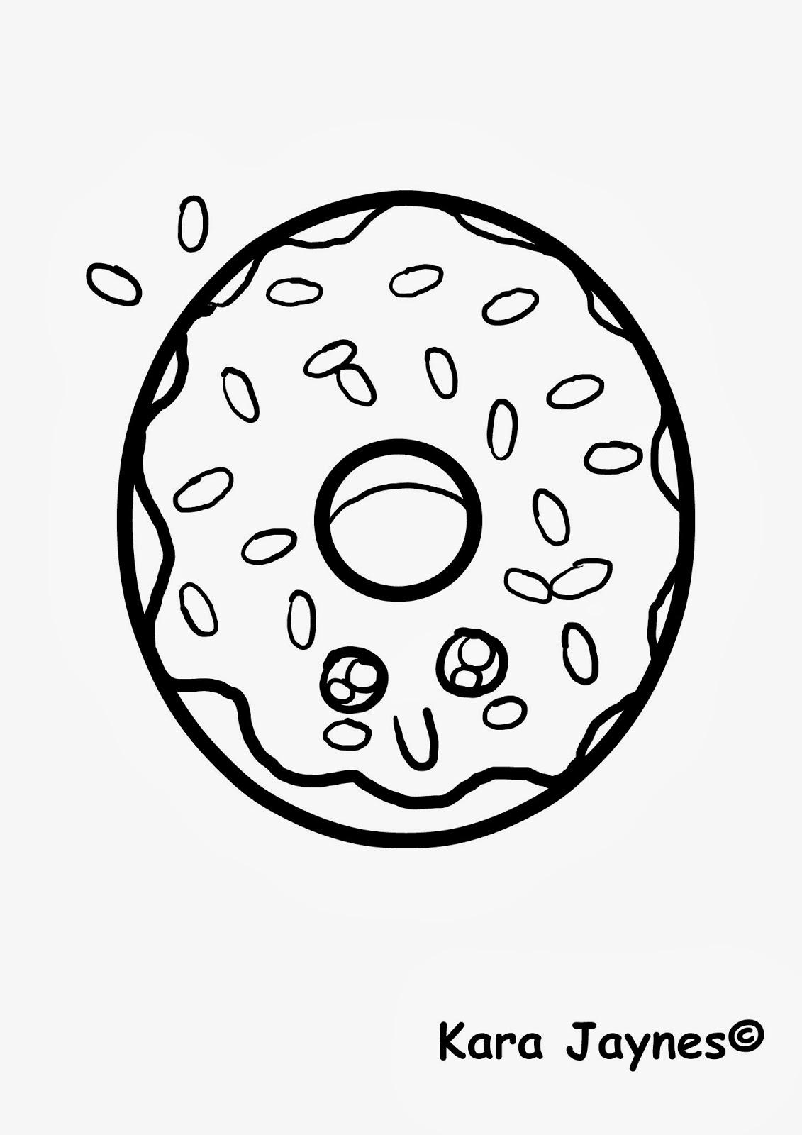 donut coloring page - kara jaynes kawaii donut coloring page