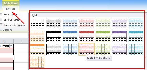 Cara Merubah Design Tabel di Excel