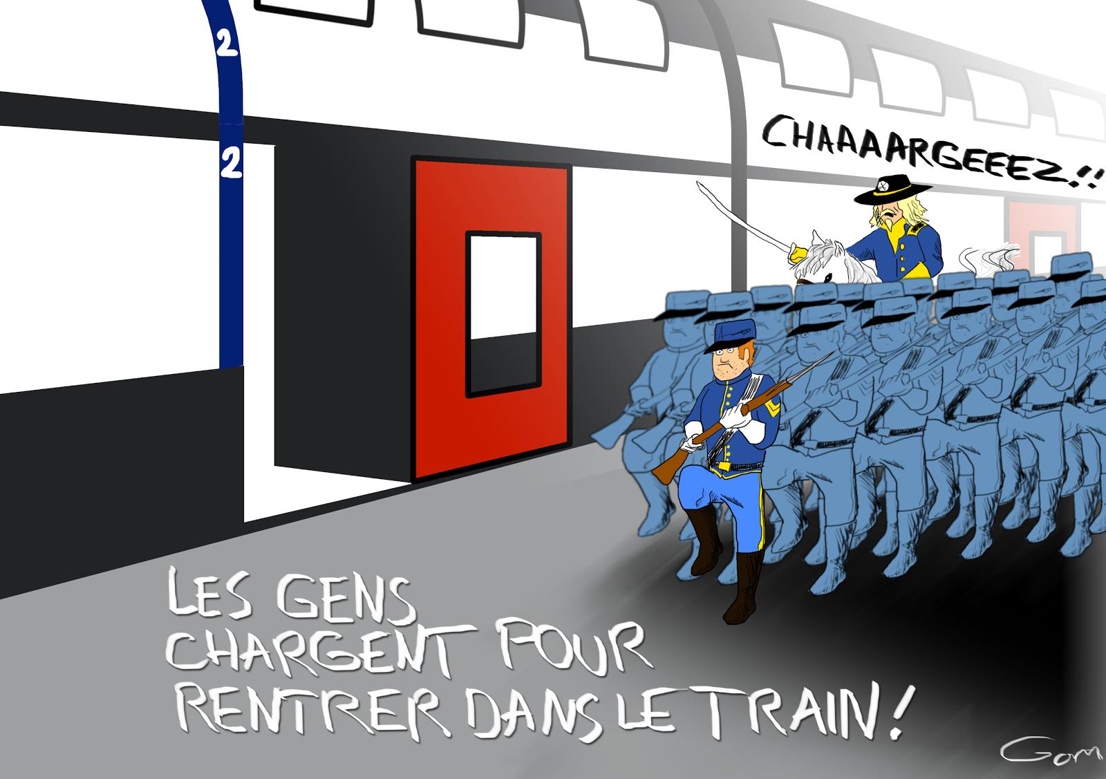 charger pour rentrer dans le train