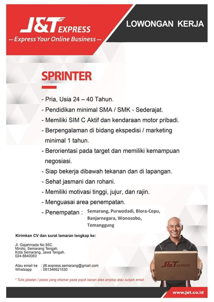 Lowongan kerka J&T Express - Sprinter / Kurir - Semarang ...