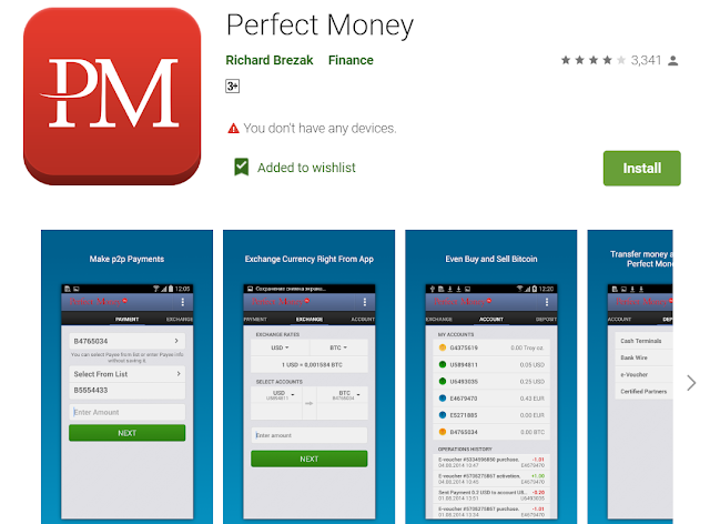 perfect money app for android mobile user