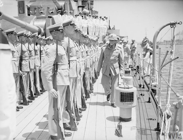 Field Marshal Jan Smuts inspecting sailors, 16 May 1942 worldwartwo.filminspector.com