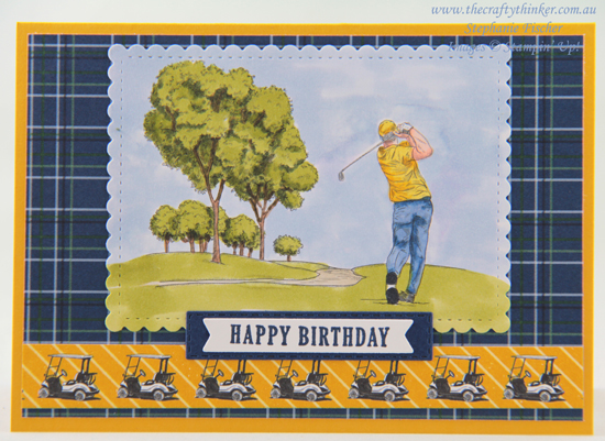 #thecraftythinker #stampinup #minicatalogue #masculinecard #clubhousebundle #golfcard , Club House Bundle, Masculine card, sneak peek Mini Catalogue, Stampin' Up Demonstrator, Stephanie Fischer, Sydney NSW