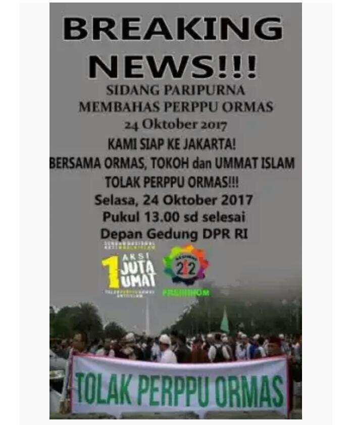 Aksi Tolak Perppu Ormas yang Digelar pada Kamis (26/10) dimajukan menjadi Selasa (24/10)