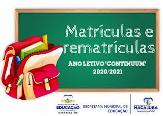 Matrículas de Macajuba 2021