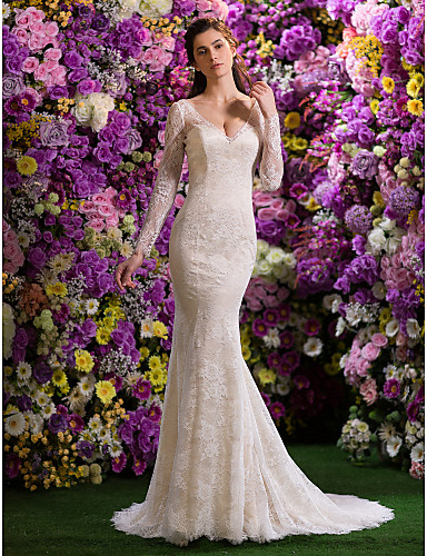 vestidos para novia con manga larga
