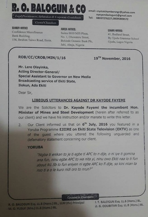 Fayose's Aides Get Ultimatum To Retract Libellous Statements Against Fayemi, See Raw Copy of Letter From Lawyer