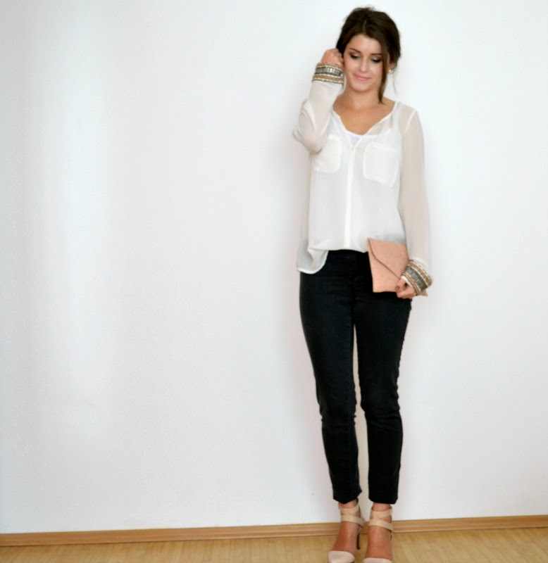 embellished sleeves outfit zara blouse