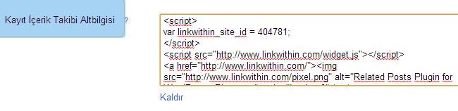 Linkwithin kodu yapıştırma alanı