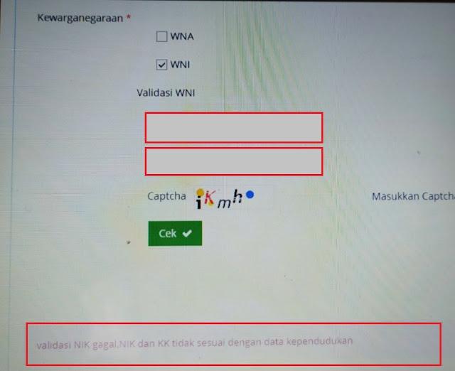 daftar NPWP online, validasi NIK dan KK gagal