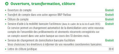 Extrait de la brochure tarifaire de la BNP