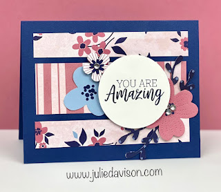 Stampin' Up! You Are Amazing Paper Blooms Card + Easy Card Layout with Designer Paper ~ January-June 2021 Mini Catalog ~ www.juliedavison.com #stampinup #saleabration