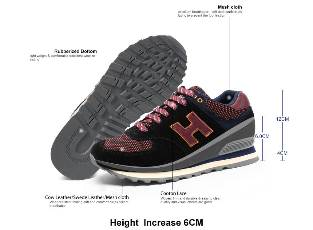 Women Increase Height Hidden Shoes Heeled Shoes To Get Bigger 6 CM / 2.36 Inches