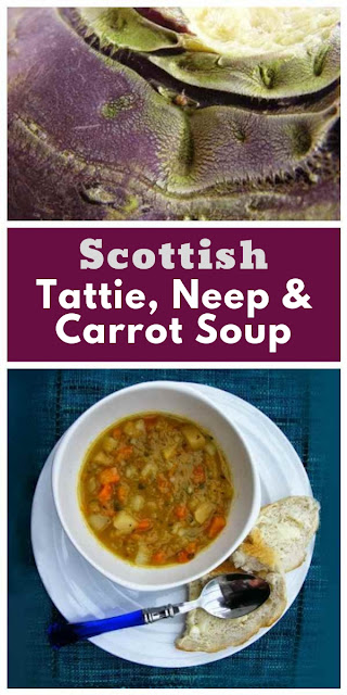 A chunky filling (tattie) potato, (neep) turnip and carrot soup, perfect for cold Scottish winters. Scottish turnips are also called swede in England and Rutabaga in the US. #scottishsoup #vegetablesoup #scottishrecipes #lowcaloriesoup #chunkysoup #carrotsoup #turnipsoup #swedesoup #52dietsoup #vegansoup #vegetariansoup
