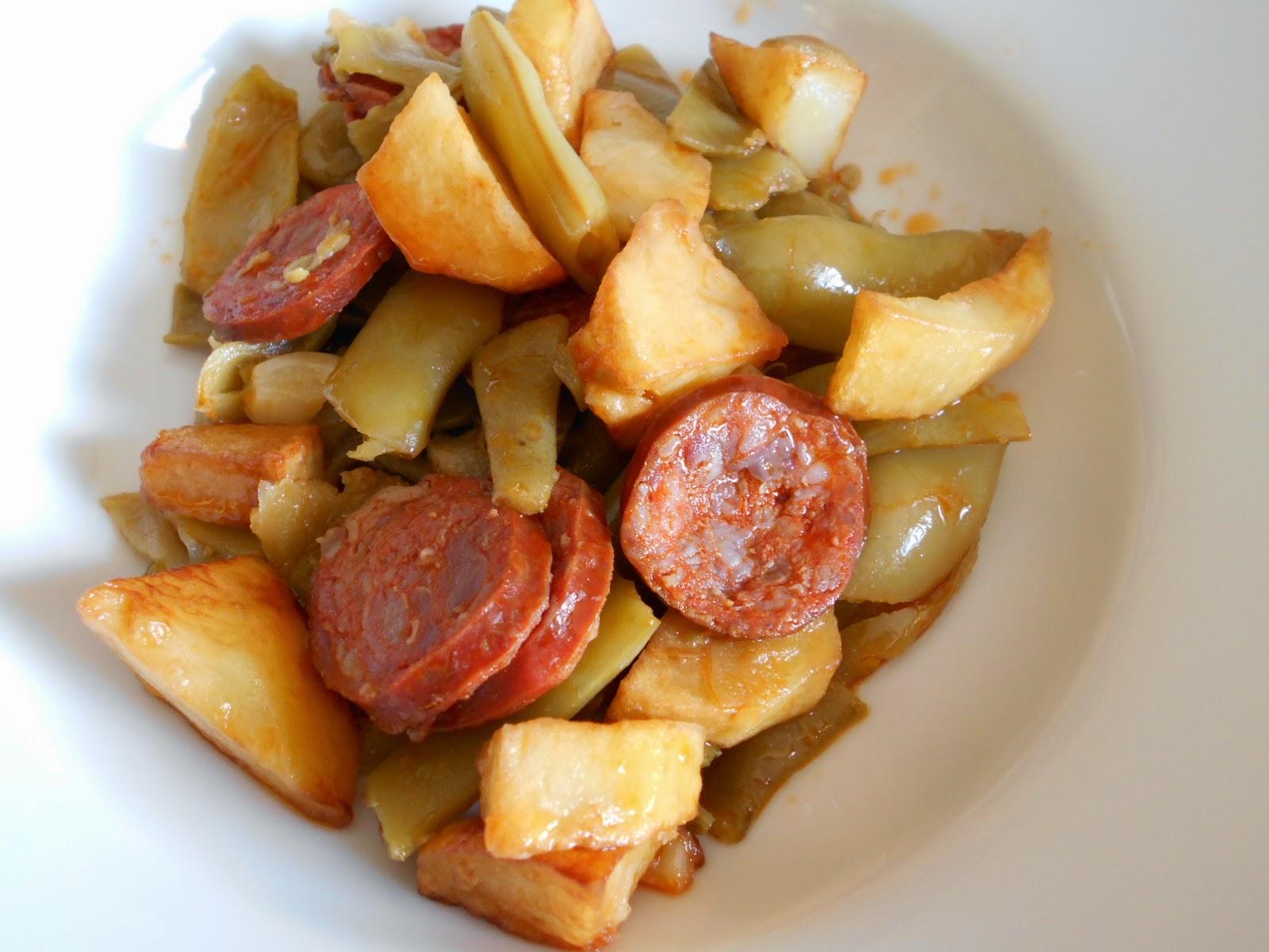 Judias verdes con patatas y chorizo cocina a buenas horas - Judias con chorizo y patatas ...
