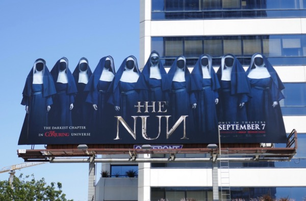 Nun movie cut-out extension billboard