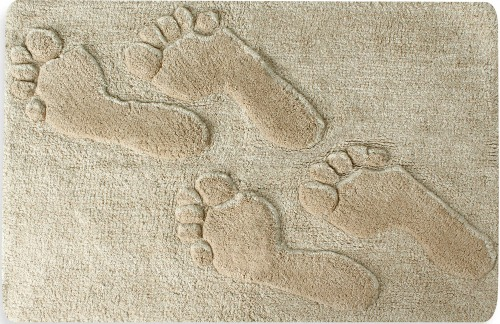 Footprints in Sand Beach Bath Rug