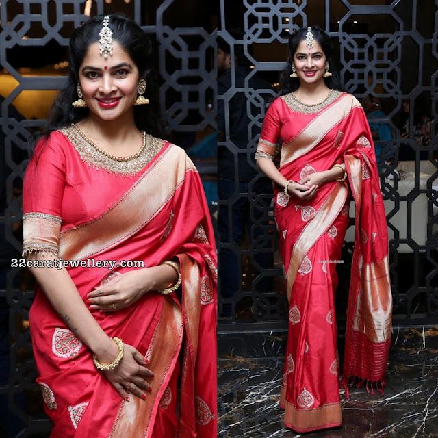 Madhumitha in Red Silk Saree