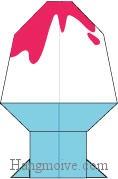 Bước 18: Tô màu để hoàn thành cách xếp cái kem ly bằng giấy theo phong cách origami.