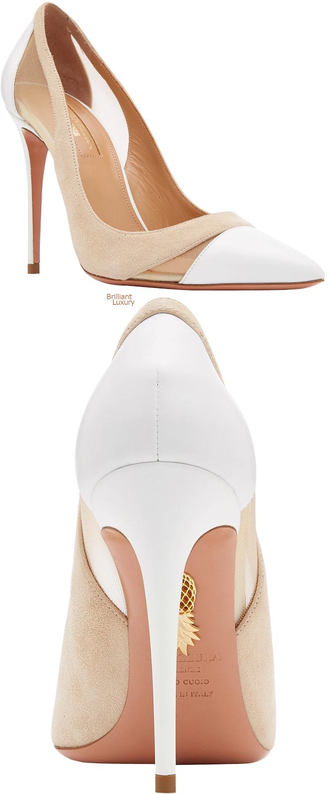 Brilliant Luxury♦Aquazzura Savoy leather mesh suede pumps