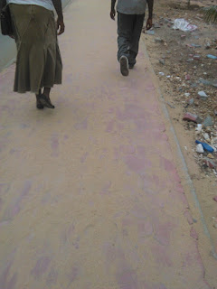 Mombasa pavements as jobless youth walk  on the street everyday.