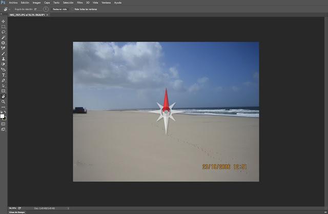 Herramienta de rotación o brújula en Photoshop