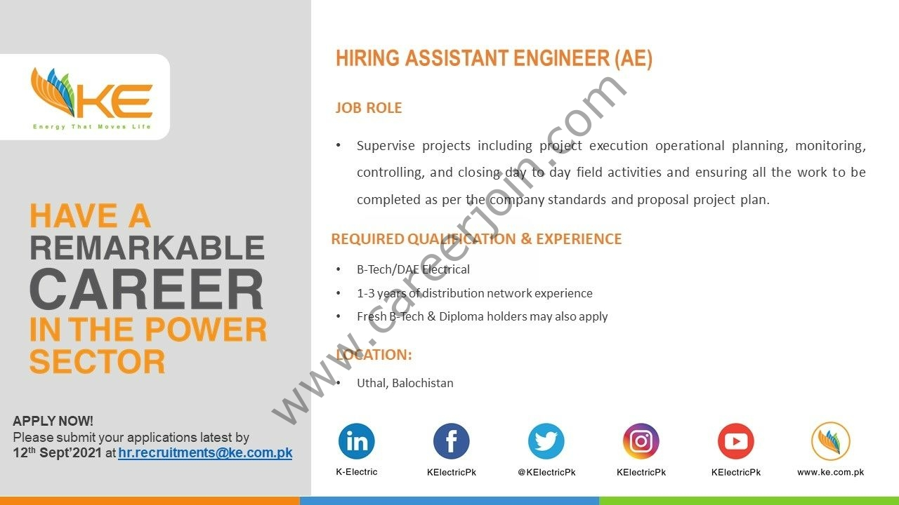 K-Electric Jobs Assistant Engineer AE