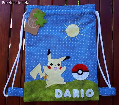 Bolsa de merienda, bolsa para el almuerzo, patchwork, bolsas personalizadas, pokemon, pikachu, bolsa pikachu, bolsa pokemon, bolsas hechas a mano, mochila cole, mochila cole hecha a mano, mochila pokemon, mochila pikachu,