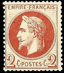 """Timbre """"Empire Lauré"""" brun-rouge de 2 centimes, 1870 (collection particulière)"""