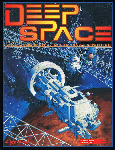 Cyberpunk Deep Space sourcebook cover - spaceship over Mars