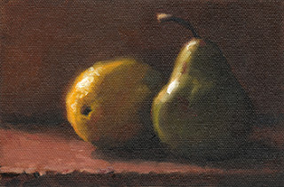 Still life oil painting of a partially illuminated lemon and pear.