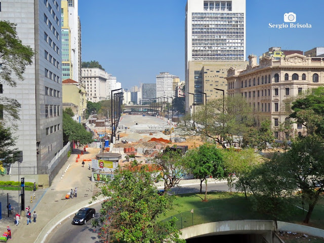 Vista ampla do Vale do Anhangabaú em obras - Julho de 2020 - São Paulo