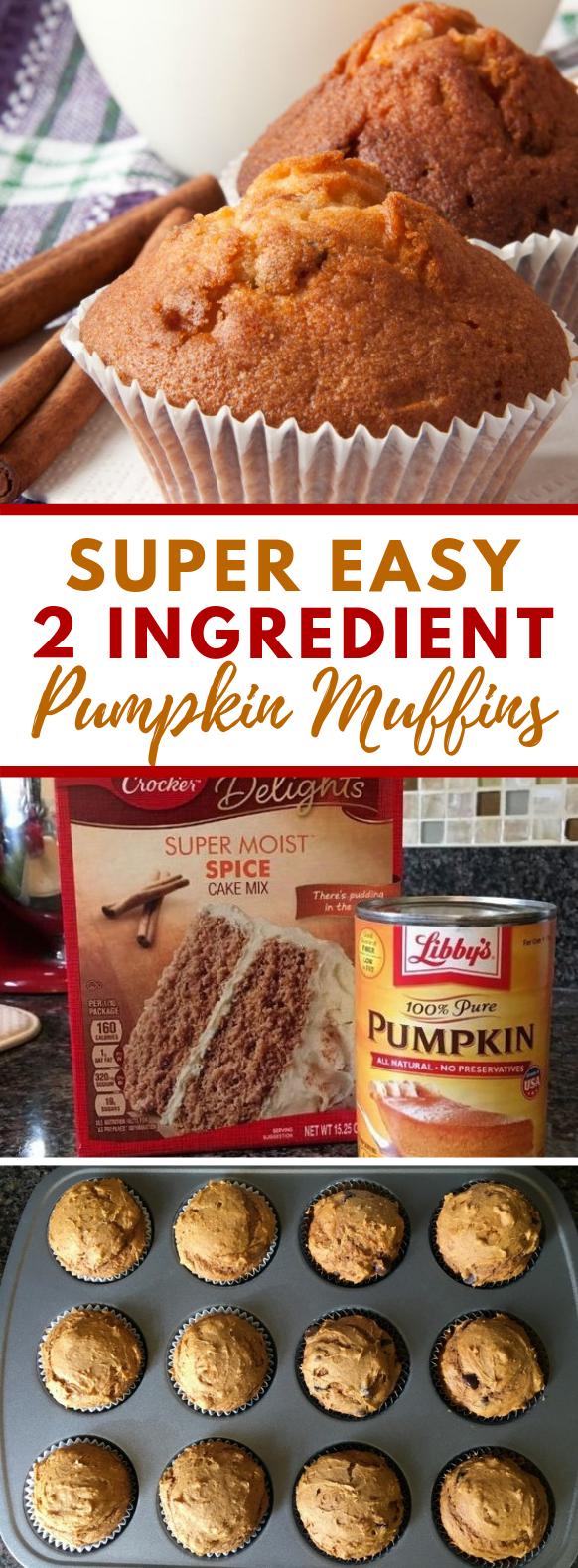 Easy & Delicious 2-Ingredient Pumpkin Muffins #desserts #thanksgiving