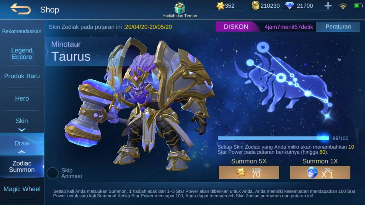 cara dapat skin zodiac mobile legends gratis