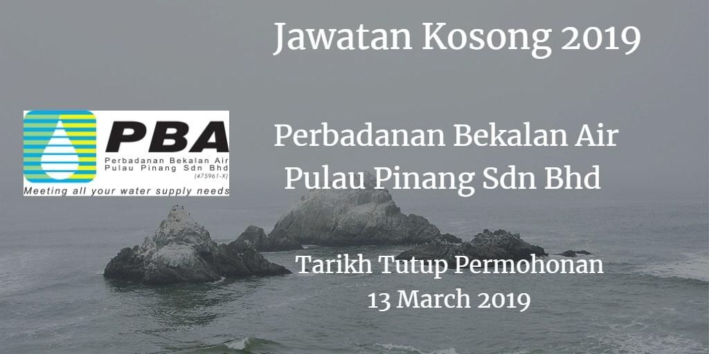 Jawatan Kosong Perbadanan Bekalan Air Pulau Pinang Sdn Bhd 13 March 2019