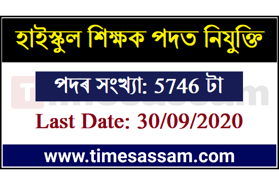 Assam High School Teacher JOb 2020