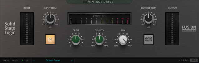 Interface do Plugin Solid State Logic - SSL Fusion Vintage Drive Plug-in 1.0.24