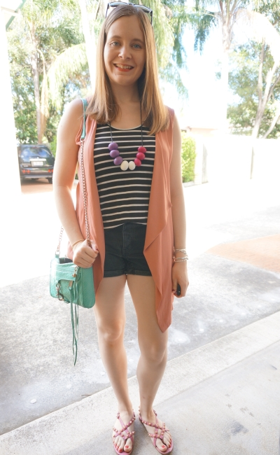 monochrome black stripe tank shorts outfit pink sleeveless drape vest mint bag | AwayFromBlue