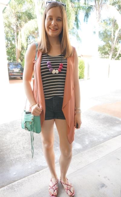 monochrome black stripe tank shorts outfit pink sleeveless drape vest mint bag | AwayFromBlue