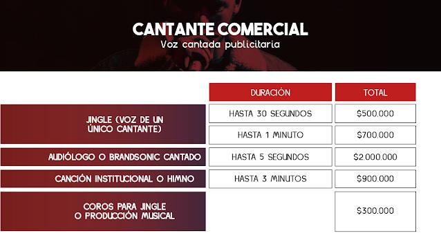 Tarifas de Cantantes en Jingles y Comerciales - Colombia 2021
