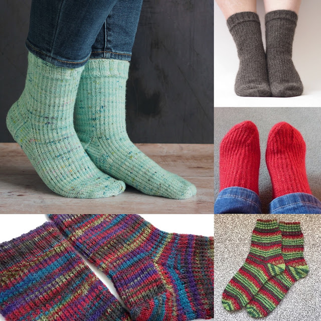 collage of different jupon socks in different yarns