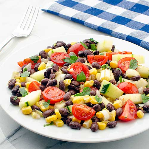 Mexican Cucumber, Tomato, and Bean Salad